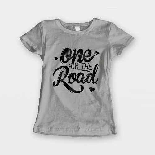T-Shirt One For The Road men women round neck tee. Printed and delivered from USA or UK.