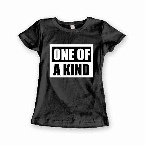 T-Shirt One Of A Kind men women round neck tee. Printed and delivered from USA or UK.