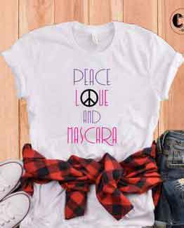 T-Shirt Peace Love And Mascara by Clotee.com Tumblr Aesthetic Clothing