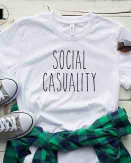 T-Shirt Social Casuality men women round neck tee. Printed and delivered from USA or UK
