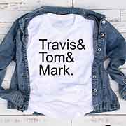 T-Shirt Travis Tom Mark men women round neck tee. Printed and delivered from USA or UK