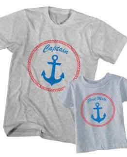Dad and Son T-Shirt Captain First Mate by Clotee.com Father and Son Matching Tee Shirt Set