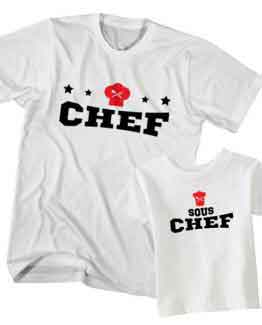 Dad and Son T-Shirt Chef Sous Chef by Clotee.com Father and Son Matching Tee Shirt Set
