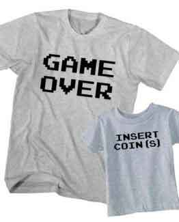 Dad and Son T-Shirt Game Over Insert Coin by Clotee.com Father and Son Matching Tee Shirt Set