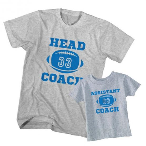 Dad and Son T-Shirt Head Coach Assistant Coach by Clotee.com Father and Son Matching Tee Shirt Set