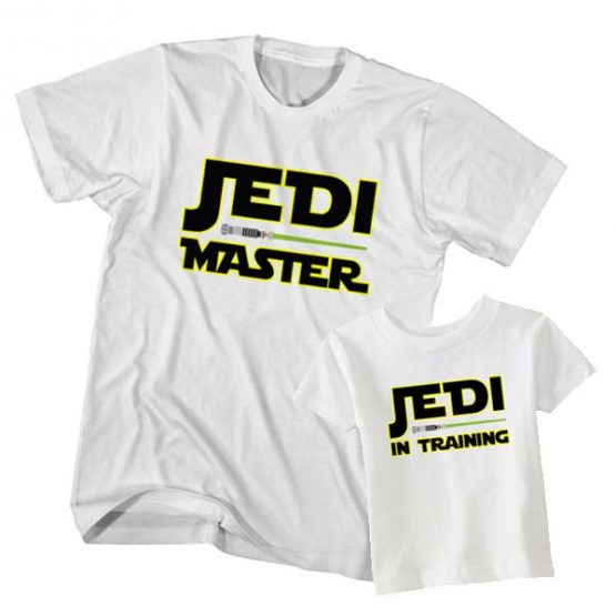 Dad and Son T-Shirt Jedi Master Jedi In Training by Clotee.com Father and Son Matching Tee Shirt Set
