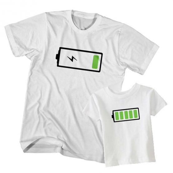 Dad and Son T-Shirt Low Battery Full Battery by Clotee.com Father and Son Matching Tee Shirt Set