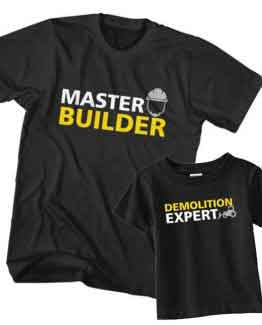 Dad and Son T-Shirt Master Builder Demolition Expert by Clotee.com Father and Son Matching Tee Shirt Set