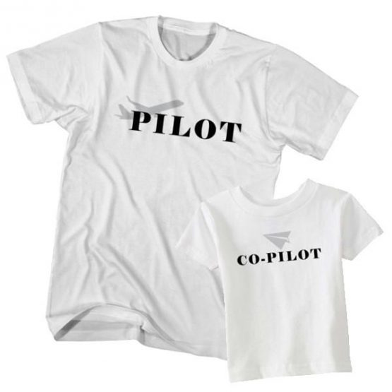 Dad and Son T-Shirt Pilot Co-Pilot by Clotee.com Father and Son Matching Tee Shirt Set