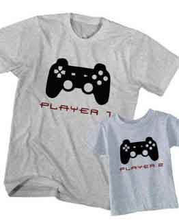 Dad and Son T-Shirt Gamer Player 1 Player 2 by Clotee.com Father and Son Matching Tee Shirt Set