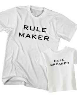 Dad and Son T-Shirt Rule Maker Rule Breaker by Clotee.com Father and Son Matching Tee Shirt Set
