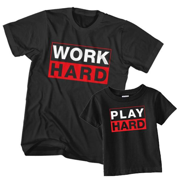 Dad and Son T-Shirt Work Hard Play Hard by Clotee.com Father and Son Matching Tee Shirt Set
