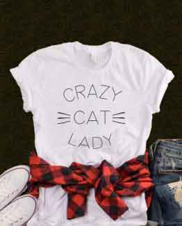 T-Shirt Crazy Cat Lady men women round neck tee. Printed and delivered from USA or UK.