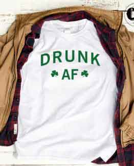 T-Shirt Drunk Af men women round neck tee. Printed and delivered from USA or UK.