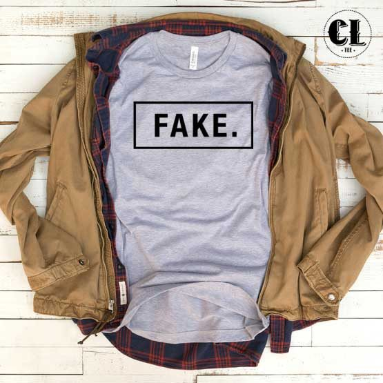 T-Shirt Fake men women round neck tee. Printed and delivered from USA or UK.
