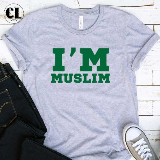 T-Shirt I'm Muslim men women round neck tee. Printed and delivered from USA or UK.