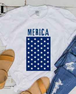 T-Shirt Merica men women round neck tee. Printed and delivered from USA or UK.