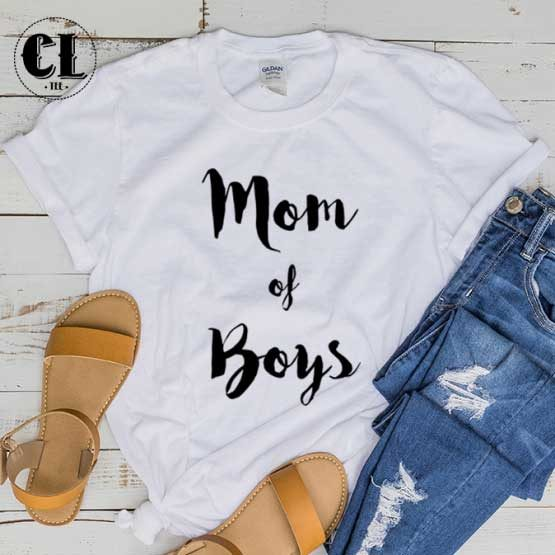 T-Shirt Mom Of Boys men women round neck tee. Printed and delivered from USA or UK.