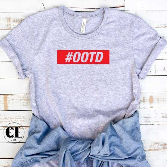 T-Shirt OOTD Red men women round neck tee. Printed and delivered from USA or UK.