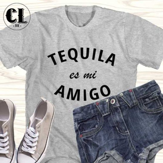 T-Shirt Tequila Es Mi Amigo men women round neck tee. Printed and delivered from USA or UK.