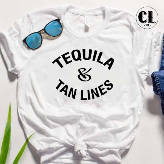 T-Shirt Tequila Tan Lines men women round neck tee. Printed and delivered from USA or UK.