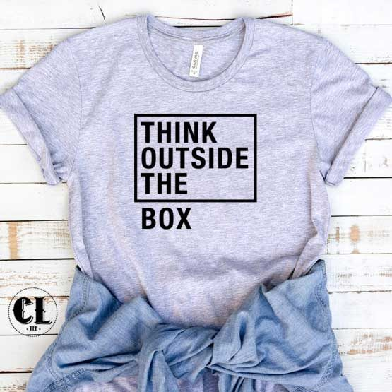 T-Shirt Think Outside The Box men women round neck tee. Printed and delivered from USA or UK.