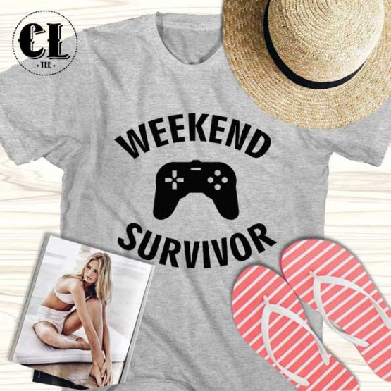 T-Shirt Weekend Survivor men women round neck tee. Printed and delivered from USA or UK.