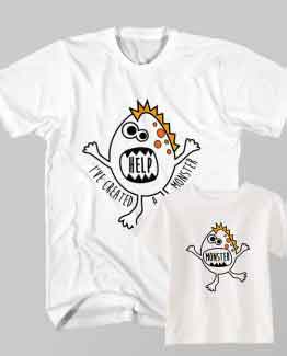 Father and Son Clothing T-Shirt Help I've Created Monster