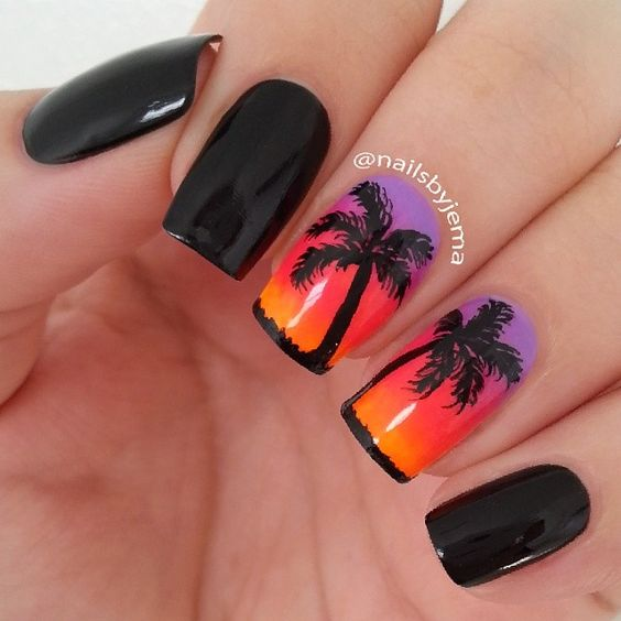 Sunset Palm Trees Nail