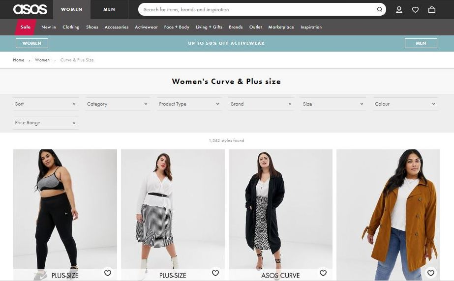 asos curve plus size clothes online website screen capture