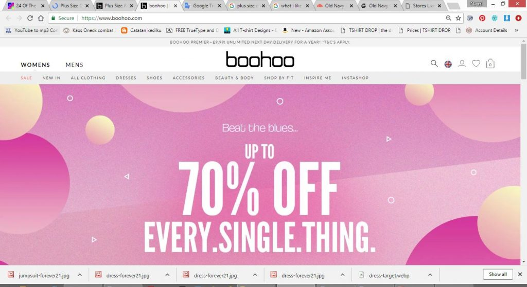 boohoo plus size clothes online website screen capture