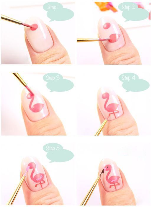 DIY Pink Flamingo Summer Holiday Nail Idea