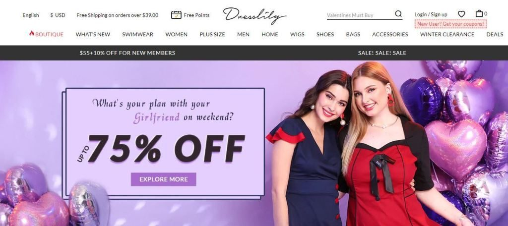 dresslily plus size clothes online website screen capture