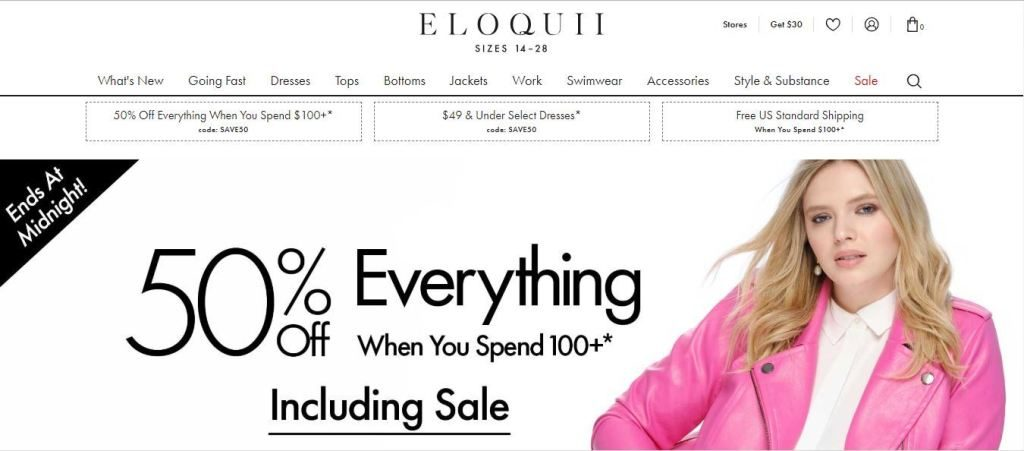 eloquii plus size clothes online website screen capture