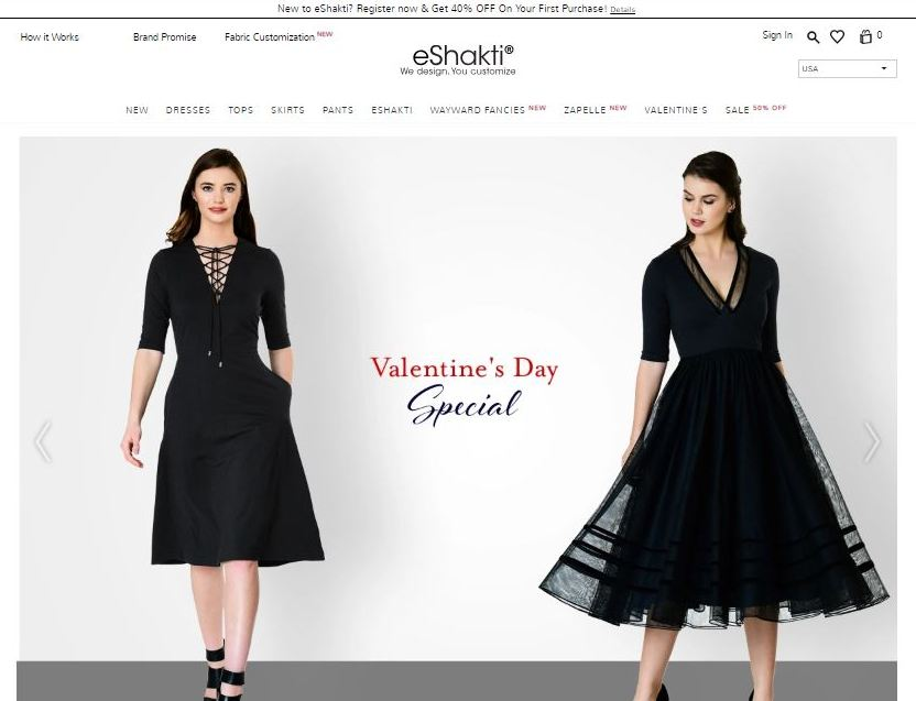eshakti plus size clothes online website screen capture
