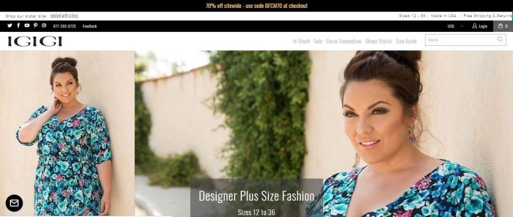 igigi plus size clothes online website screen capture