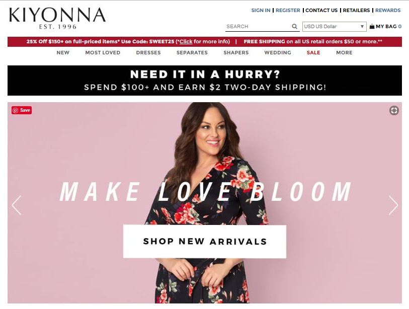 kiyonna plus size clothes online website screen capture