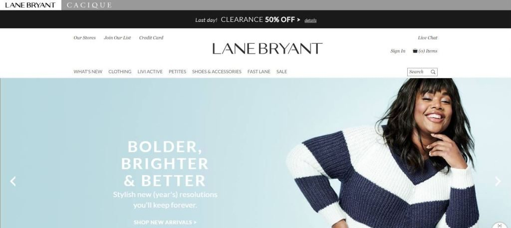 lane bryant plus size clothes online website screen capture