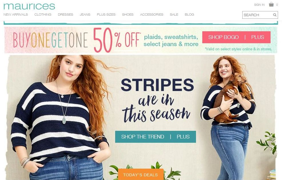 maurices plus size clothes online website screen capture