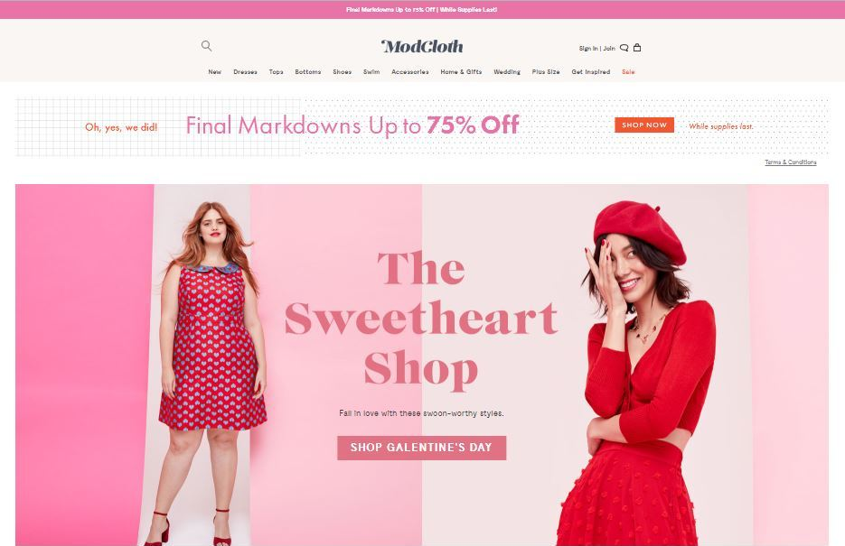 modcloth plus size clothes online website screen capture