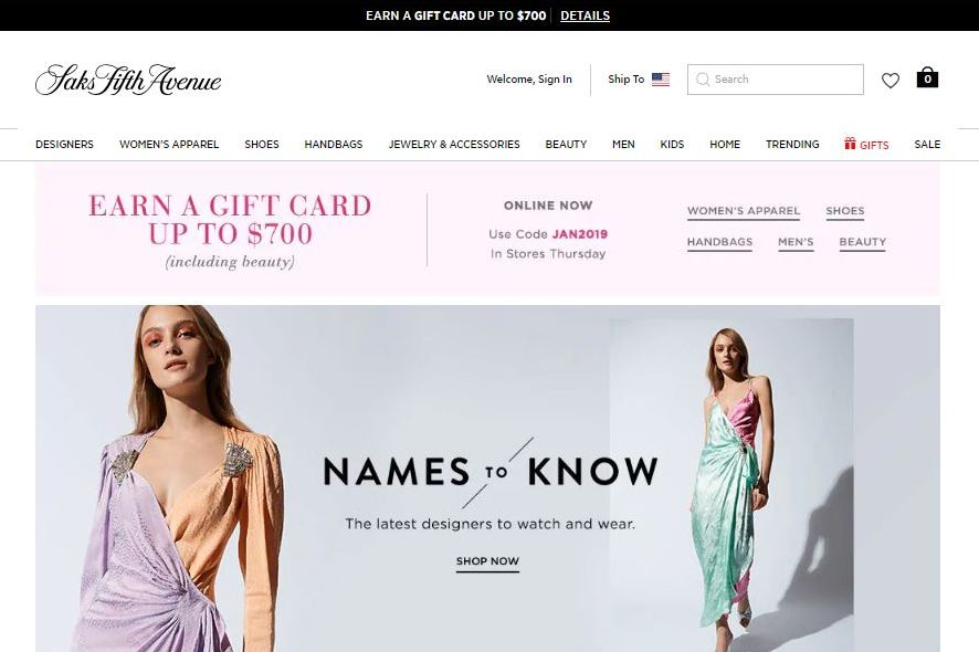saks fifth avenue plus size clothes online website screen capture
