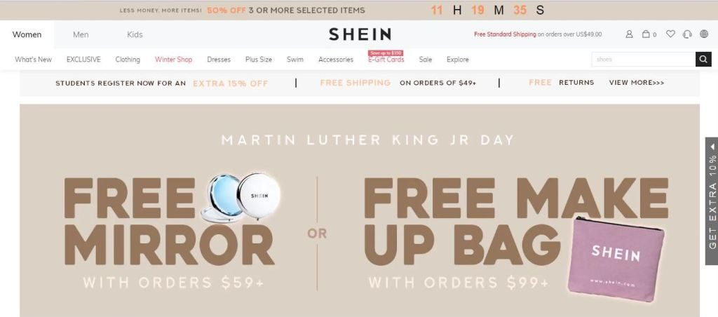 shein plus size clothes online website screen capture