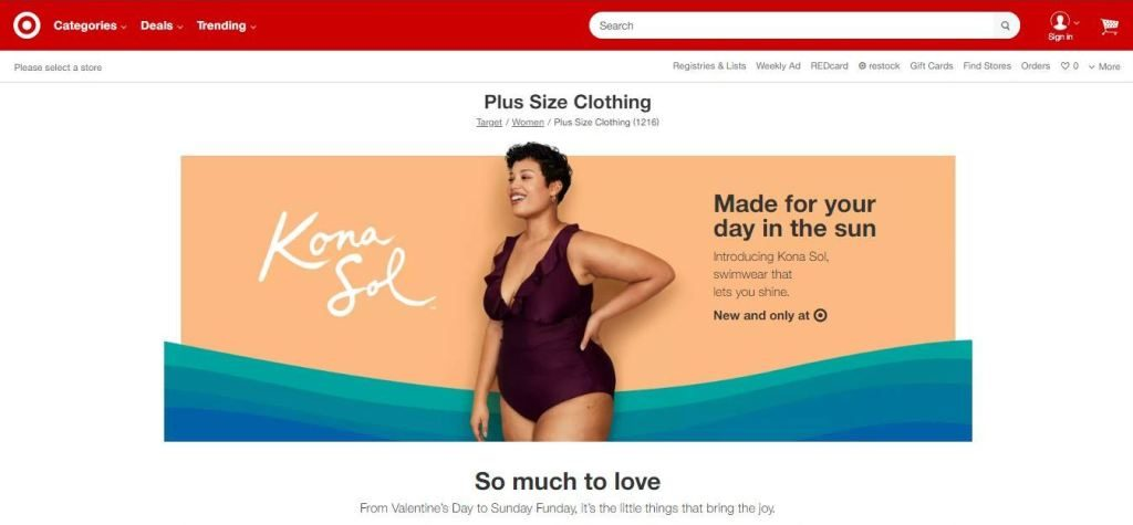 target plus size clothes online website screen capture