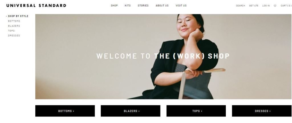 universal standard plus size clothes online website screen capture