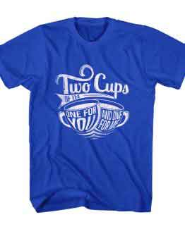 T-Shirt Two Cups Tea Typography by Clotee.com Typography, Lettering, Calligraphy Men Women Crew Neck Tee