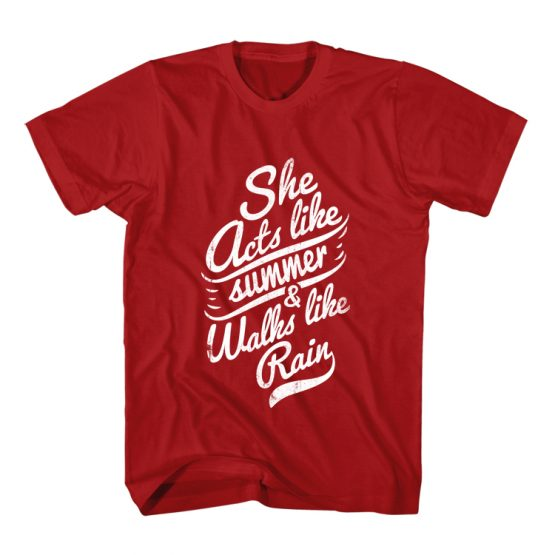 T-Shirt She Acts Like Summer Typography by Clotee.com Typography, Lettering, Calligraphy Men Women Crew Neck Tee