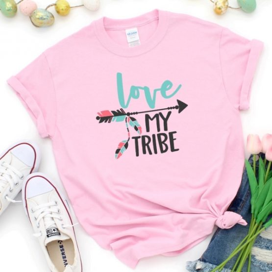 T-Shirt Mom Life Love My Tribe Pink