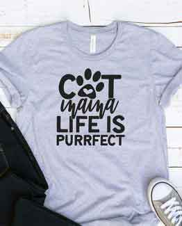 T-Shirt Cat Mama Life Is Purrfect Pet Lover