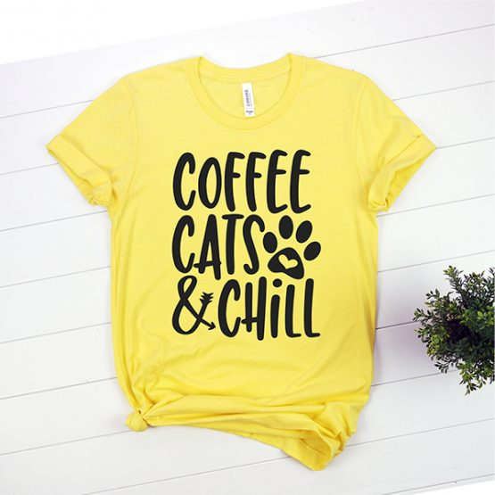 T-Shirt Coffee Cats And Chill Pet Lover by Clotee.com Rescue Cat, Purr Mama, Cat Lover