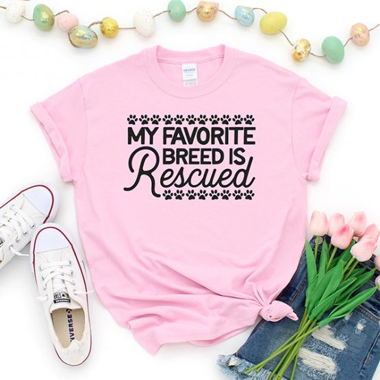 T-Shirt My Favorite Breed Is Rescued Pet Lover by Clotee.com Custom Cat Shirt, Animal Rescue & Pet Lover
